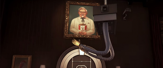 Colonel Sanders looms over the top