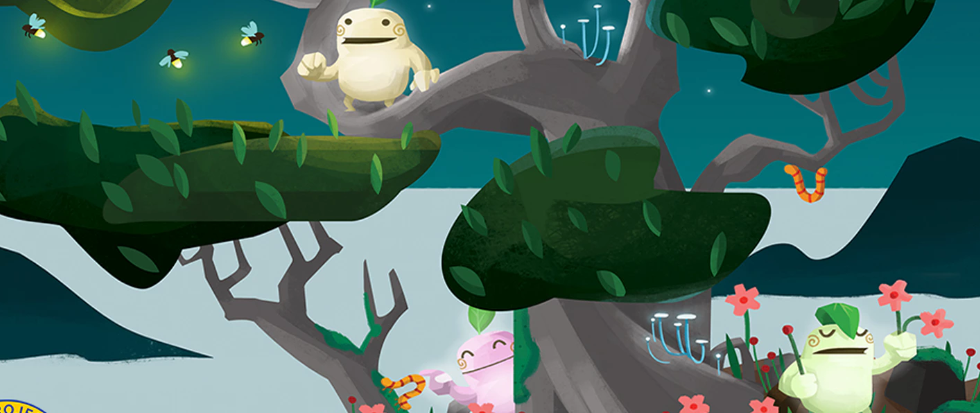 Kodama: The Tree Spirits cover art with some soft creatures with long arms and happy faces peering around trees.