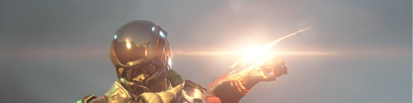 A figure in space armor, pointing to the right in front of a lens flare and a dark blue daytimes ky.