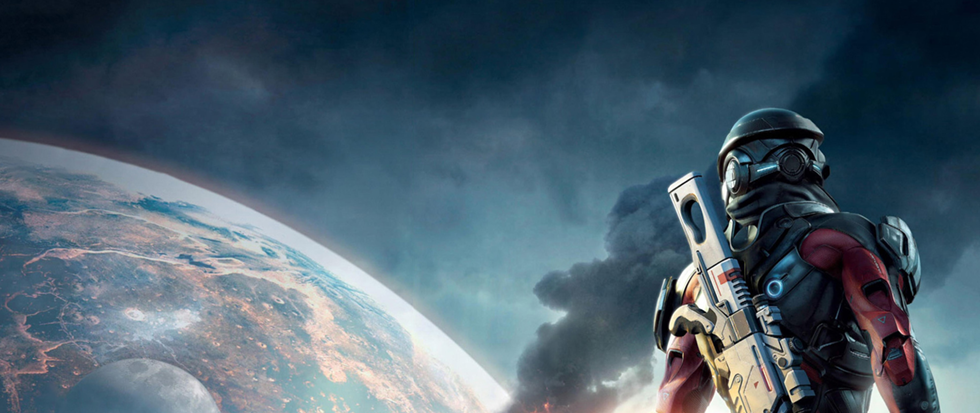 A figure in space armor looks out over a destroyed world as a large plume of smoke rises out.
