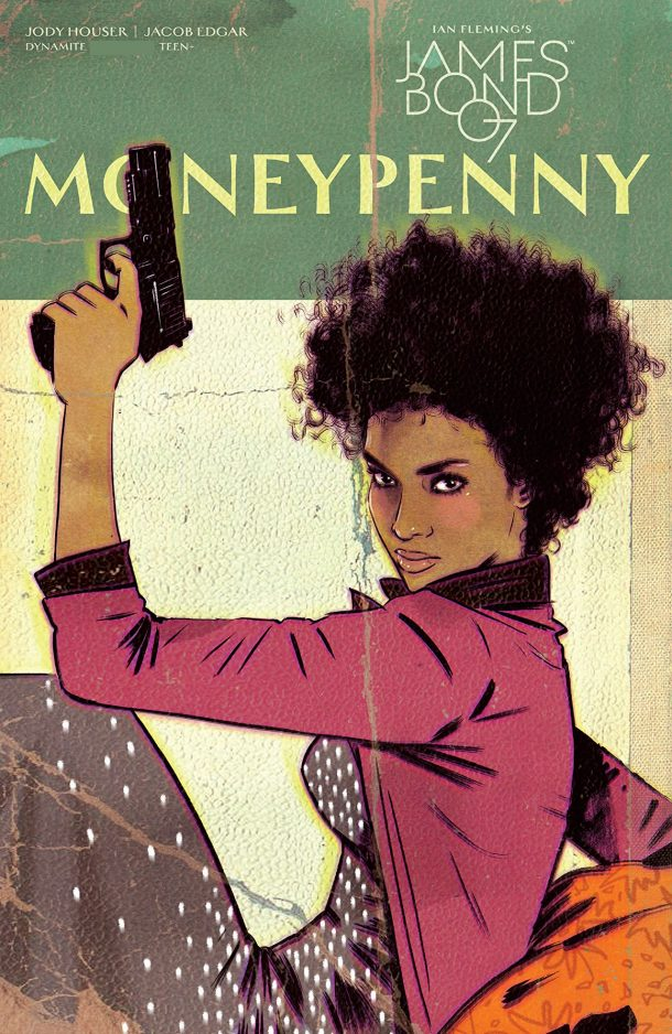 A black woman in a long skirt and red jacket, holding a gun aloft. Her gaze is steady on the camera. This is a cover for the Moneypenny One Shot.