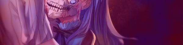 A blue haired woman who apparently is also a skull and has an eye hanging from the socket. I'm going to be straight with you here, I'm just the editor so I have no idea what is going on in this image, just that it is a screnshot from Notch the Innocent Luna.