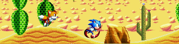 Sonic powers along, his feet a red blur beneath him, a deserted ridge the desert plains behind him. This is a still from the game Sonic Mania.