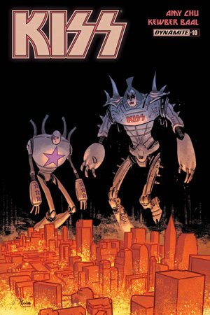 Two large robots with Kiss faces looking out over a yellow orange sky. KISS is large in the upper left hand corner.