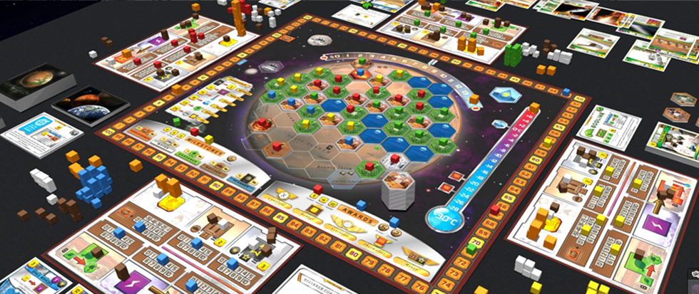 A series of small pieces and a board with a planet in the center. This is the board game Terraforming Mars.