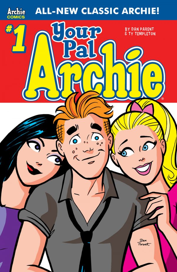 Archie, surrounded by Betty and Veronica who rest on his shoulders adoringly. This is the cover for Your Pal archie #1.