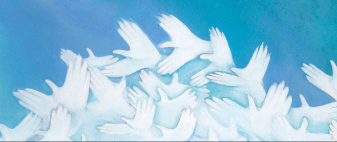 a series of things that at first glance look like doves, but on closer appraisal appear to be made of tiny hands. This is the cover art for and then we held hands.