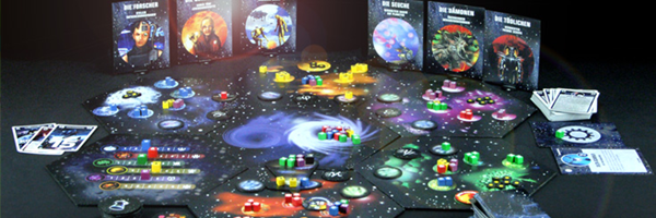 Several bright colored board game pieces that together equal the board game Cosmic Encounter.
