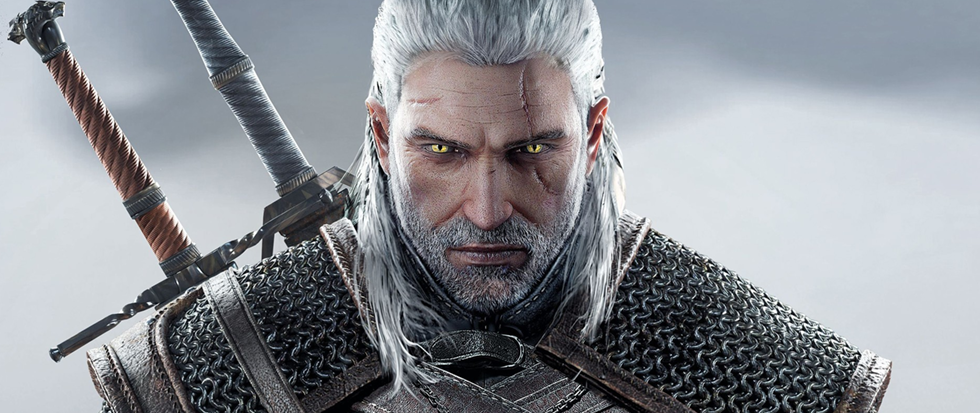 A silver haired man with two swords staring directly at the camera. This is Geralt of Rivia from The Witcher franchise.