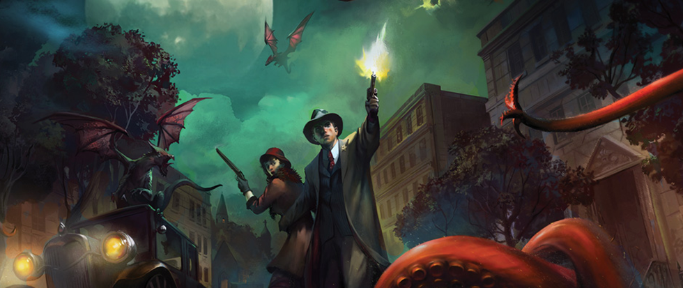 A man in a round hat and a gun fighting off a large kraken like creature. This is part of the box art for the Arkham HOrror Card game