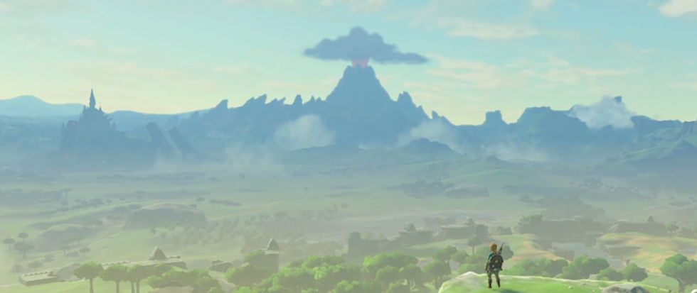Link stands, back to the camera and intensely small, in teh bottom right of a large open world as pictured in the Legend of Zelda: Breath of the Wild