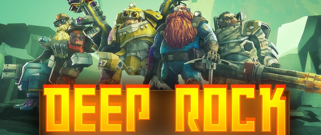 "A crew of mechanical heavy dwarves standing in a heroic pose above a title that reads ""Deep Rock"""