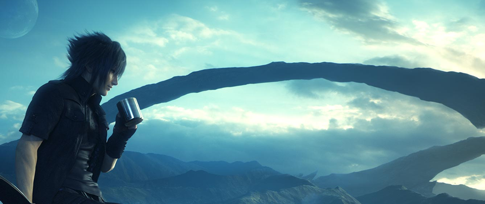 a dark haired Japanese man leans up against a car, a large rock formation cutting like a ribbon across the sky in the background. This is a still from the game Final Fantasy XV.