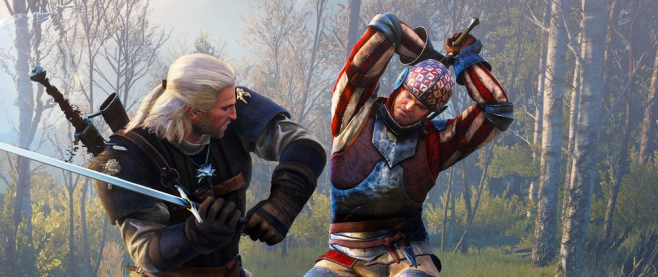 Silver haired warrior Geralt brings up an arm to an attacking man festooned in blue, red and white who has his own sword raised high. This is promotional image for Witcher 3.