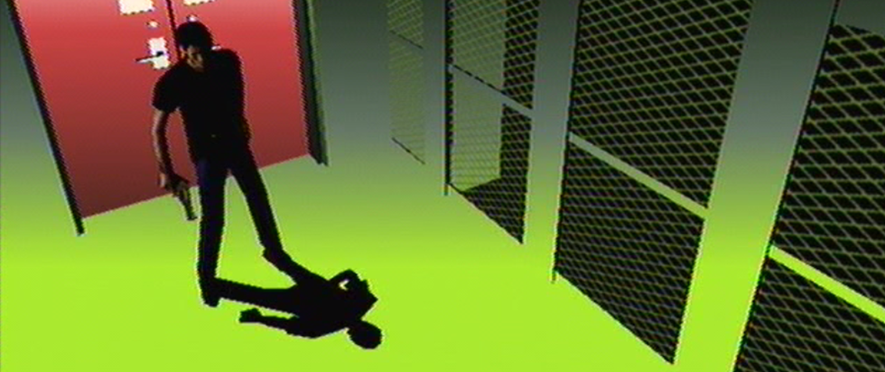 A shadowed man standing in front of a red door and a violently green floor with grated windows to the right. This is a still from the Suda51 game Killer 7
