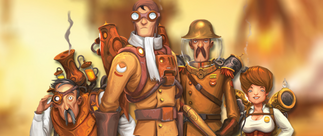 A series of steampunky figures standing in a heroic formation above a indistinct background. This is promotional art for the game Mission: Red Planet.