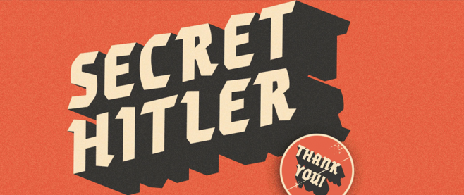 "On a noisey red background, there is the title Secret Hitler in bold white and black lettering and in the foregound is a stamp that reads ""thank you."" This is a promotional material for the game Secret Hitler."