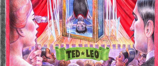 A carnival like atmosphere with a sketch of a man upside down in a water tub, framed by two people. This is the cover for Ted Leo's the Hanged Man.