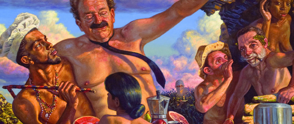 A rich painting of a sort of bacchanal near orgy, a man in a tie and little else having his nipples painted by a thinner man who holds him aloft, a woman shielding his nudity from view. Around him rest similar older white men in states of undress, their colors rich and resplendent. This is the album cover for Veterans of Pleasure.