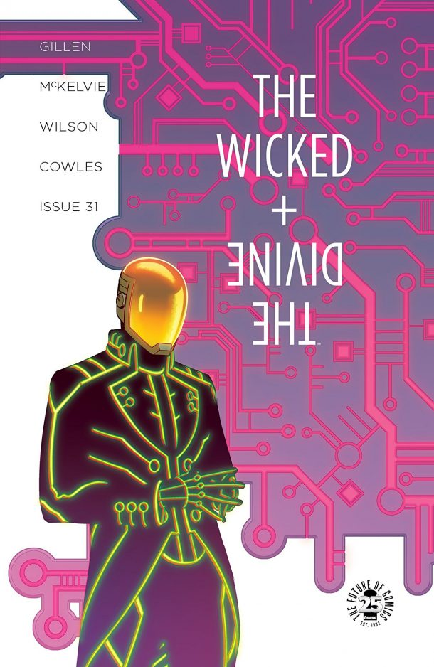The cover art, featuring a gold faced android, for the graphic novel the wicked and the divine