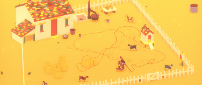 A yellow field wrapped around a house, the yard puttering with animals