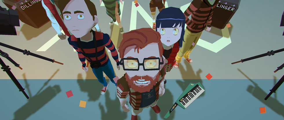 A group of hipster lokoing folks surrounded by discarded musical instruments staring towards the camera which is placed above eyeline. This is a promotional image for YIIK: A Post-Modern RPG