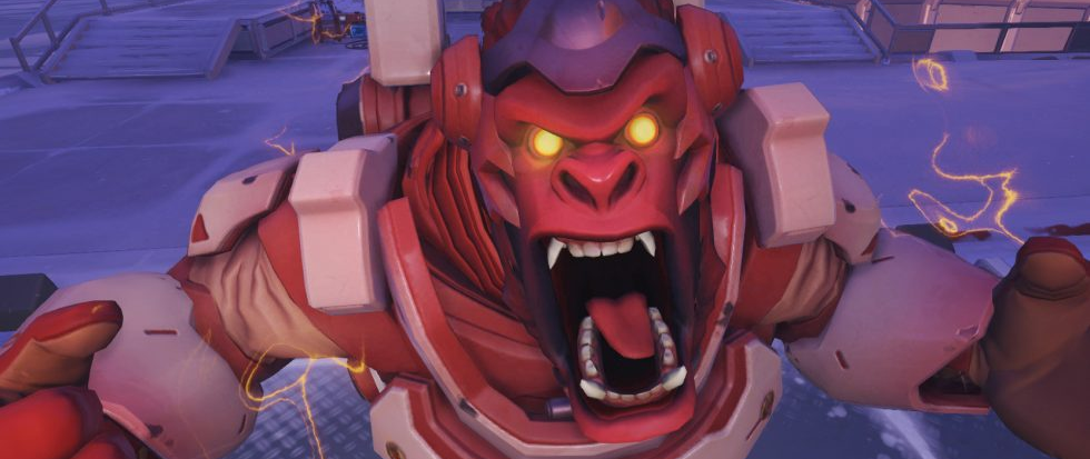 Red faced, Winston from Overwatch screams at the camera.