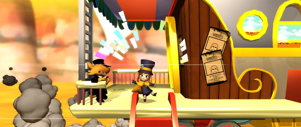 Hat kid, standing on the edge of a train platform, in a bright and colorful world.
