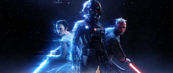 A black clad stormtrooper, flanked by Darth Maul and Rey.