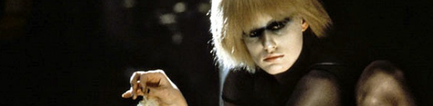 Pris, her white blonde hair like straw, and her eyes lined in black.
