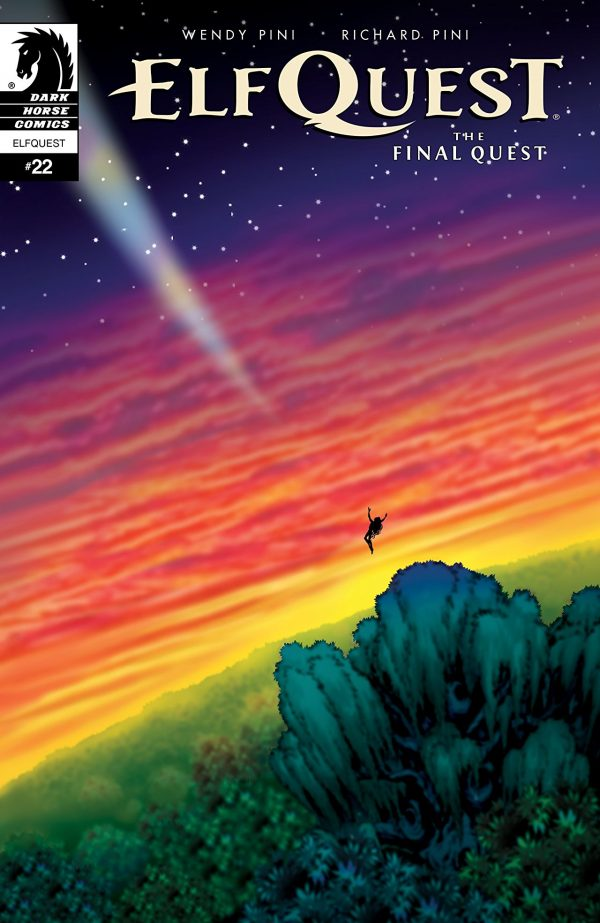 "A rainbow colored sky with a figure shooting across teh sky with text along the top that reads ""Elf-Quest"""