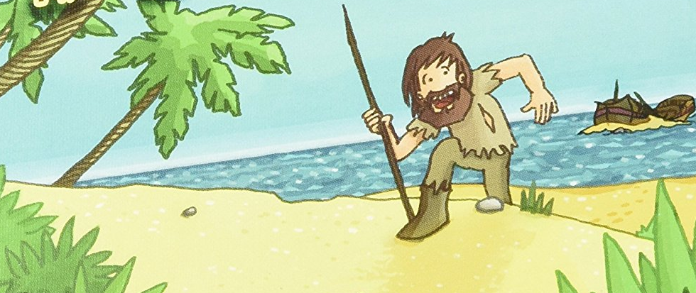 Robinson Crusoe solo on an island, standing on a bright yellow beach