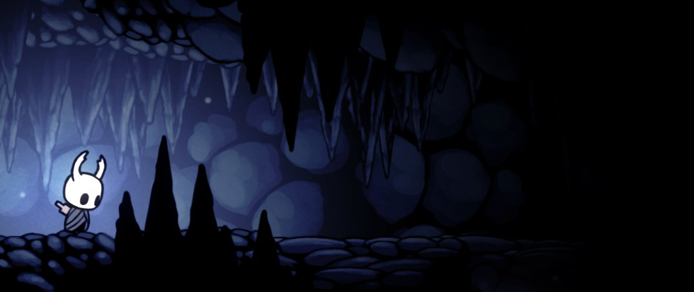 A white figure standing near a light, a still from the game Hollow Knight.