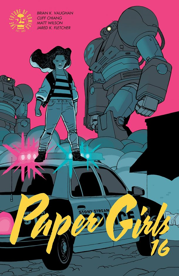 A pink background with two women standing large in front of a pink background with light blue figures. This is the cover of Paper Girls.