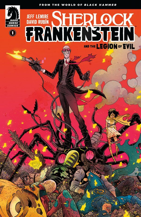 "A sledner man standing atop of a cacophony of tentacles. The text below reads ""Sherlock Frankenstein and the legion of evil Vol #1"""