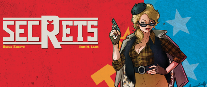 "A woman with yellow hair and a typical spy get up, with the word ""Secrets"" in big letters next to her outstretched gun."