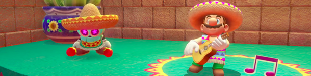Mario in a sombrero and Mexican cultural costume, playing a vihuela