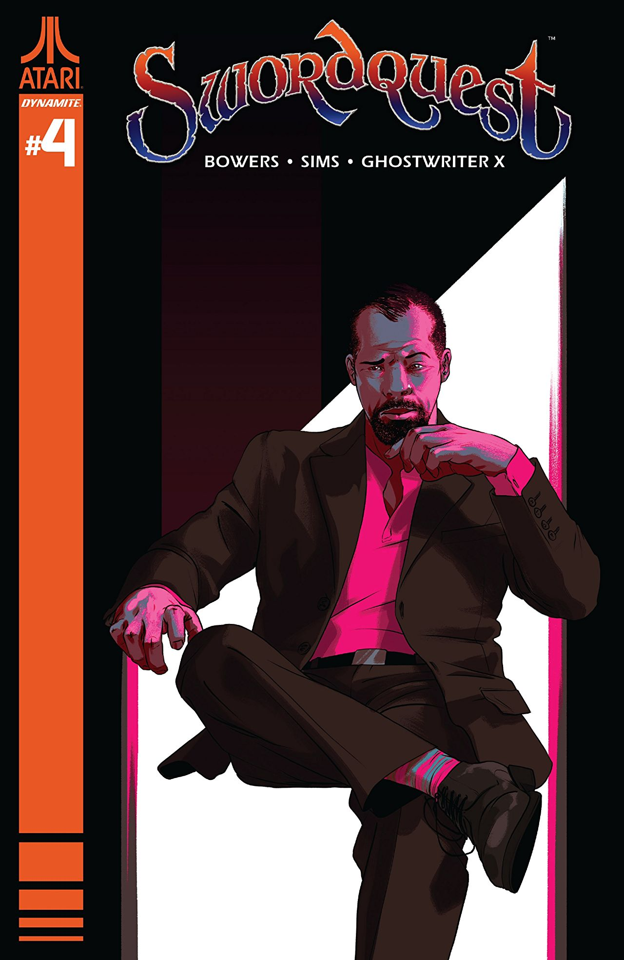 "A black man in a dark pink suit sits with his leg draped across theother. Above his head is the text ""Swordquest"""