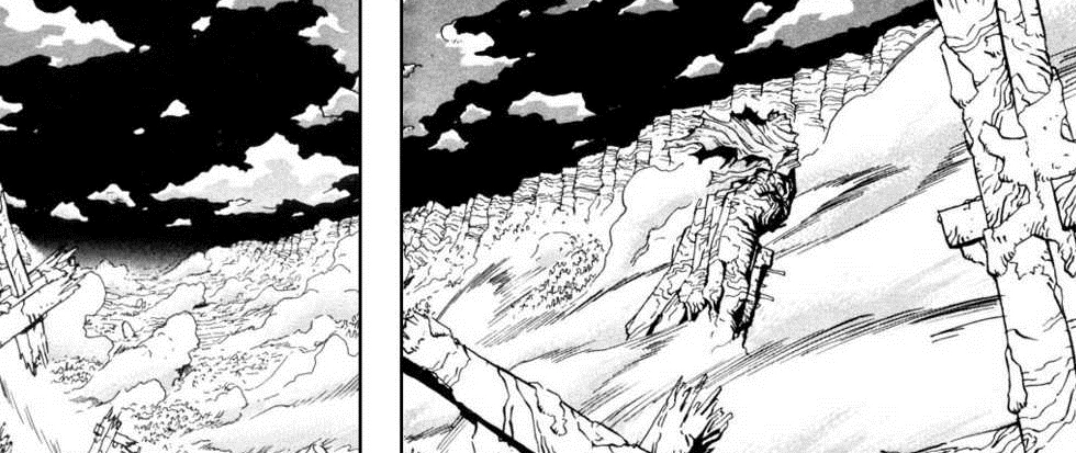 A black and white still from the manga Trigun, showing a dark night sky with high cliffs meeting the horizon.
