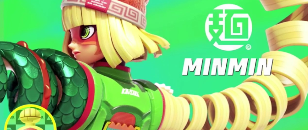 "Springy blonde hair and noodle like appendages come out of a character named ""minMin"" from the game Arms"
