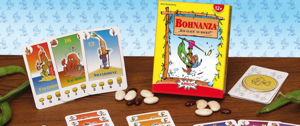 A tabletop with a display of the bean counting game Bohnanza.