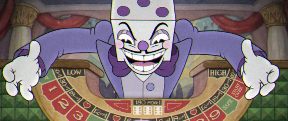 A purple clad figure with a dice for a head and a pencil thin moustache over top of a gambling board. This is a still from the game Cuphead.