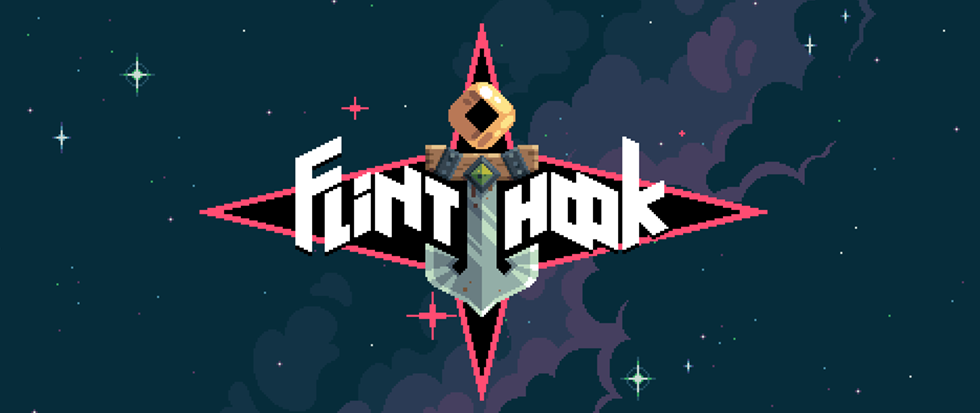 "An anchor in a starburst with the word ""Flinthook"""