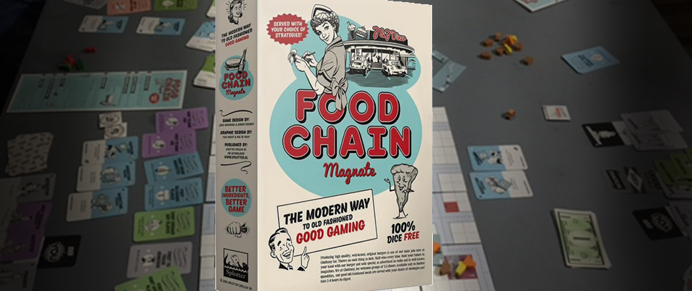 The box for Food Chain Magnate shown over a board of the game being played.