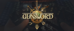 "A pair of hands holding cards from the game Gunsword, with a large shield like logo across the image that reads ""Gunsword"" in old timey font."