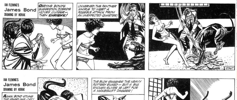 A black and white James Bond comic