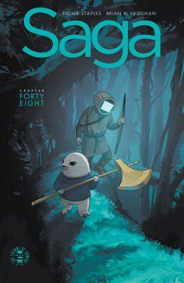The cover art for the comic book Saga.