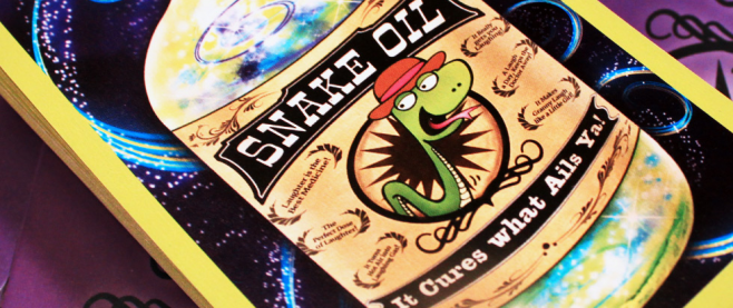 "A box that reads ""Snake Oil"" with a subtitle ""It cures what ails you"""