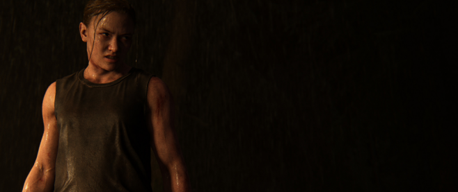 a thin, angry looking woman in a still from the Last of Us: Part 2