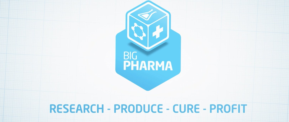 "The logo for Big Pharma (the game) with the text below that reads ""Research - Produce - Cure - Profit"""